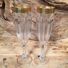 Σετ Γάμου Ποτήρια Σαμπάνιας Χρυσή Λεπτομέρεια Ανάγλυφη Mason Jar Wine Glass, Flute, Tableware, Dinnerware, Tablewares, Flutes, Dishes, Tin Whistle, Place Settings