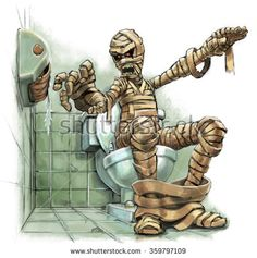 A #funny #cartoon #illustration of a scary #mummy sitting on a #toilet who suddenly realizes that there is no #toiletpaper on the roll. Grave consequences must follow. Created as a #digitalpainting.