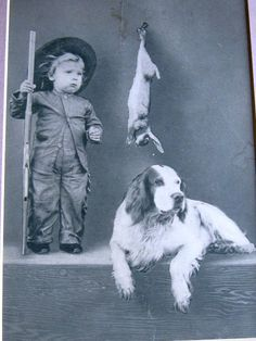Boy and dog, painted backdrop