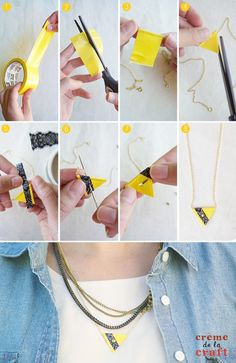 16 diy fashion crafts - fashion diva design diy украшения, о Diy And Crafts Sewing, Tape Crafts, Easy Diy Crafts, Crafts For Girls, Diy Crafts Videos, Diy Schmuck, Schmuck Design, Duct Tape, Washi Tape