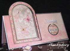 Arched DL Card - from the Hunkydory Floral Shimmer Collection. Create And Craft Tv, Hunkydory Crafts, Hunky Dory, Easy Cards, Shaped Cards, Heartfelt Creations, Layouts, Chloe, Christmas Cards