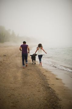 a morning walk on the beach