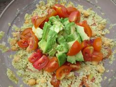 Protein-Loaded Quinoa Guacamole - quinoa, chick peas, tomatoes, red onions, avocado, and lots of lime juice!