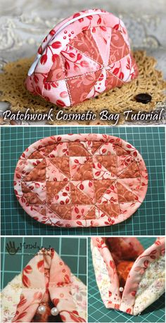 Cosmetic bag in patchwork technique Sewing Hacks, Sewing Tutorials, Sewing Crafts, Sewing Projects, Makeup Bag Tutorials, Patchwork Bags, Patchwork Quilting, Crazy Patchwork, Patchwork Ideas