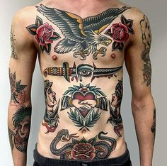 by Felix Kienzle . - by Felix Kienzle ………… # traditional … – tattoo ~ - Tattoos Torso, Tattoos 3d, Sleeve Tattoos, Tattoos For Guys, Traditional Tattoo Man, Traditional Tattoo Placement, Traditional Tattoo Old School, American Traditional Sleeve, Tatuagem Old Scholl