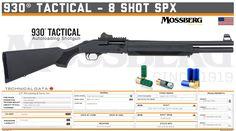 O.F. Mossberg & Sons, Inc. - 930® Tactical - 8 Shot SPX Tactical Shotgun, Tactical Gear, Weapons Guns, Airsoft Guns, Military Guns, Weapon Concept Art, Firearms, Hand Guns, Shots