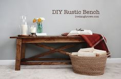 I want one of these! DIY Rustic Wood Bench {tutorial} @Live Laugh Rowe