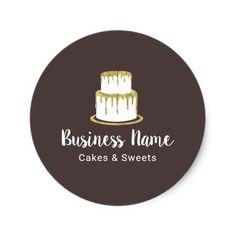 Elegant white cake with florals cake decorating business card bakery gold cake logo sweet boutique chef elegant classic round sticker colourmoves