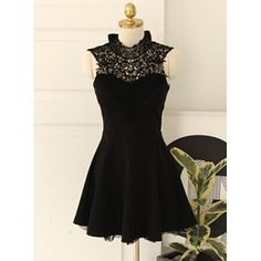 Trendy Style Stand Collar Lacework Splicing A-Line Sleeveless Women's Dress (BLACK,M) in Dresses 2014 | DressLily.com