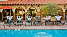 Groomsmen by the pool before a beach wedding and reception at the La Jolla Shores Hotel. We love this fun wedding party idea!