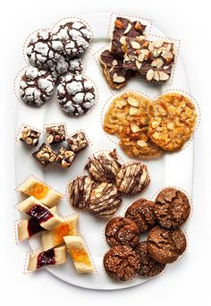 Easy Christmas cookies - Chocolate Crinkles, Matzo Brittle, Florentine Cookies, Hazelnut Truffle Fudge, Chocolate Drizzled Macaroons, Molasses Crinkle Cookies