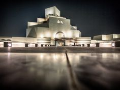 The stunning architecture of the Museum of Islamic Art in Doha Qatar.  The angular building situated on the Corniche for a dramatic display for all visitors.
