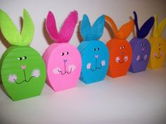 Colorful Easter Bunnies 6 Wood Bunny Rabbits Set by WoodnDoodads, $11.00
