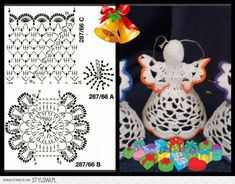 aniołek ze wzorem Little Angels ornaments. Crochet Christmas Decorations, Crochet Christmas Ornaments, Crochet Snowflakes, Angel Ornaments, Christmas Tree Toppers, Christmas Angels, Handmade Christmas, Christmas Crafts, Crochet Angel Pattern