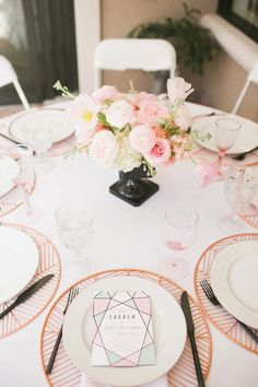 Modern Geometric Pink Tablescape // A Modern Geometric Inspired Baby Shower via TheELD.com