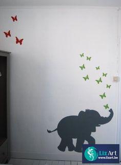 Muurschildering olifant dat vlindertjes blaast on Lizart http://lizart.be/wp-content/uploads/decoratieve-muurschilderijen/muurschildering-olifant.jpg