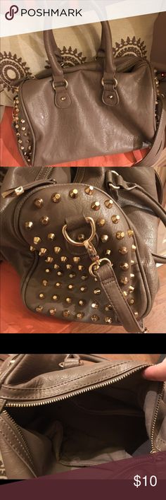 Gold studded taupe purse Gently used, no stains or rips, no worn straps Bags Shoulder Bags