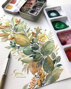 Watercolor Water, Watercolor Plants, Watercolor Cards, Watercolour Painting, Painting & Drawing, Watercolor Artists, Watercolors, Painting Lessons, Watercolor Girl