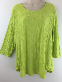 Bright green #Chicos 3 Top #Crinkle Poly Rayon. 3/4 Sleeve Scoop Knit Blouse. Size L XL