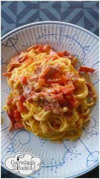 Spaghettis au chorizo et crème de parmesan.