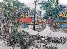 Illustrator, brush painting, 강전충(kang c c), korea painting, 붓펜화