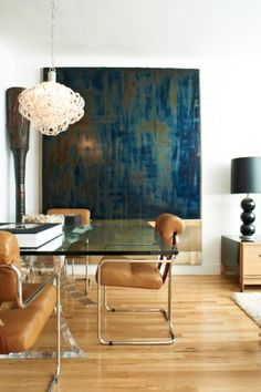 leather and metal dining