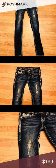 Rock Revival sequin destroyed Karla's Size 25 Absolutely stunning beautiful & my favorite's. I put a high price because I wanted to show off . If they sell at the high price so be it but firm!! Rock Revival Jeans Skinny
