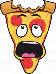 Slice Of Pepperoni Pizza Shocked With Big Bite Mark On Crust Emoji Pizza Kunst, Super Pizza, Pizza Project, Pizza Cartoon, Cute Food Drawings, Pizza Art, Vip Kid, Jesus Shirts, Turtle Party