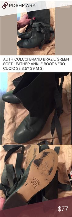 COLCCI BRAZIL GREEN SOFT LEATHER ANKLE BOOT 8.5 39 AUTH COLCCI BRAND BRAZIL GREEN SOFT LEATHER ANKLE BOOT VERO CUOIO Sz 8.5 9 39 M $265 100% authentic COLCCI BRAZIL brand Product specifics: Women's size: 39 M (REGULAR) 8.5?/9 US Brand:  Condition: gently worn 1x for several hours only; no box, store display Color; dark green Style: Lace TIE /leather tie up detail  Material: genuine Supple leather upper, man-made sole Made in BRAZIL  All items come from a CLEAN, SMOKE FREE HOME Vero Cuoio…