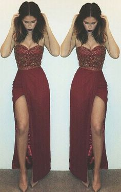2016 Beaded Side Slit Prom Dresses Sweetheart Neck Sleeveless Sexy Long Evening Gowns_Buy High Quality Dresses from Dress Factory - Babyonlinedress.com
