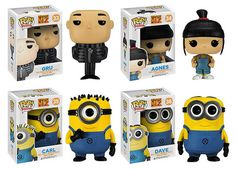 Gru, Agnes, Dave & Carl Despicable Me 2 Pop Movies Figures