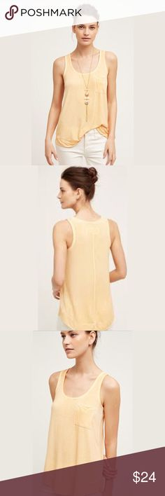 """Anthropologie Luna Wash Tank Top by Pure and Good Luna Wash Top by Pure and Good from Anthropologie. Size XL. Length 28"""" armpit to armpit 22"""".   Rayon/Spandex.  Front pocket. Machine wash.  Worn once. Anthropologie Tops Tank Tops"""