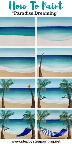 Hammock Palm Tree Painting - Step By Step Painting - - Learn how to paint palm trees on a beach with a hammock. This step by step beginner acrylic tutorial will show you how with pictures & video! Simple Canvas Paintings, Easy Canvas Art, Small Canvas Art, Easy Canvas Painting, Beach Paintings, Painting Art, Diy Canvas, Palm Tree Paintings, Acrylic Art Paintings