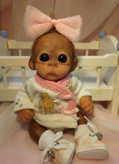 OOAK Baby Orangutan Monkey Girl Sculpted Polymer Clay Art Doll Winnie the Pooh #BreathofHeaven