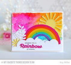 Rainbow of Happiness, Color the Rainbow Die-namics, Gerbera Daisy Die-namics, Leafy Greenery Die-namics, Stitched Cloud Edges Die-namics, Stitched Rainbow Die-namics, Sunny Skies Die-namics - Kay Miller  #mftstamps