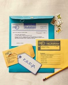 Wedding invitation and rsvp cards telegram style Friend Wedding, Our Wedding, Wedding Stuff, Wedding Wishes, Dream Wedding, Wedding Stationery, Wedding Invitations, Wedding Programs, Martha Stewart Weddings