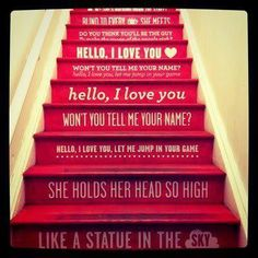 The stairs at opening ceremony. A pop of color on the stairs with a delightful type treatment of lyrics. If only more stores did stuff like this. Brainstorm, Bongs, Hello My Love, Painted Stairs, Basement Stairs, Up House, Tiny House, Stairway To Heaven, Stairway Art