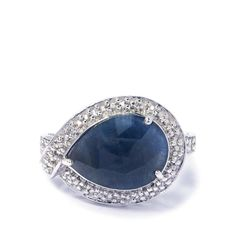 A stunning Ring from the Annabella collection, made of Sterling Silver featuring 4.30cts of marvelous Ratanapuri Blue Sapphire and White Topaz from India.