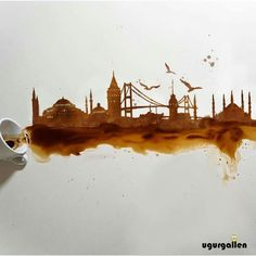 Kahveden İstanbul silueti - Hobbies paining body for kids and adult Coffee Artwork, Coffee Painting, Pour Painting, Watercolor Architecture, Art And Architecture, Painting Wallpaper, Watercolor Paintings, Watercolors, Istanbul Skyline