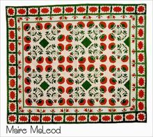 MUSEUM QUALITY 19th C Tulips& Poppy Applique Quilt - Signed
