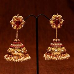 Designer bridal jhumkas with pearls and rubies