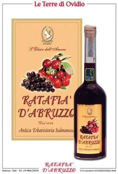 Ratafia liqueur of Abruzzo. It is traditionally produced by placing pitted cherries and sugar in glass containers exposed to the sun for about 30 days. The product thus obtained is then added red wine, by soaking and stirring periodically all for at least another 30 days. The product is then filtered and bottled.