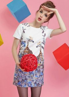 White Short Sleeve Floral Giraffe Print Dress - Fashion Clothing, Latest Street Fashion At Abaday.com