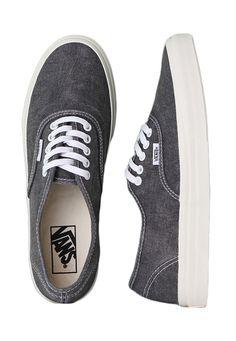 Vans - Authentic Slim Washed Black - Girl Shoes
