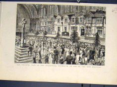 Antique Print of Fair Guildhall Plymouth Hospital English Print 1881