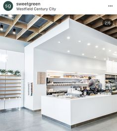 Like this ceiling application. Adds nice dimension and can use plywood to save on costs. Cafe Interior, Interior Design, Japanese Shop, Coffee Shop Design, Retail Space, Canteen, Retail Shop, Cafe Restaurant, Store Design