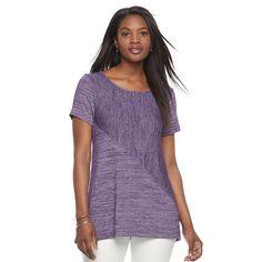 Women's Croft & Barrow® Asymmetrical Handkerchief Tee, Size: XXL, Purple