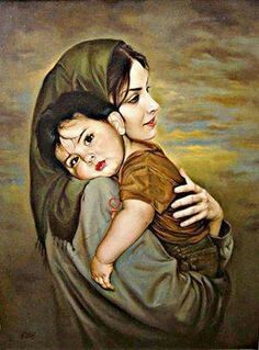 Mary and jesus Mother And Baby Paintings, Mother And Child Drawing, Mother Daughter Art, Mother Art, Mother Mary Wallpaper, Drawing Sketches, Art Drawings, Art Du Monde, Lds Art
