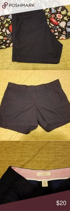 """J Crew chino shorts black These are a classic, flattering chino style. I'm 5'4"""" and they are about mid thigh on me. They are pre loved, with some slight wear on the front of the zipper area, you can see the slight """"shine"""" in the 2nd picture. Hardly noticeable. Otherwise in great condition! J. Crew Shorts"""