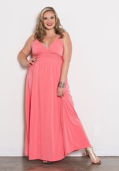Classic and Simple Plus Size Dress | Sabrina Maxi Dress in Coral | SWAK Designs